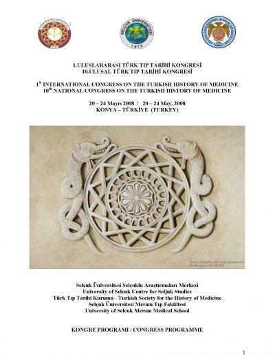 1. Uluslararası Türk Tıp Tarihi Kongresi (Konya, 20-24 Mayıs 2008)