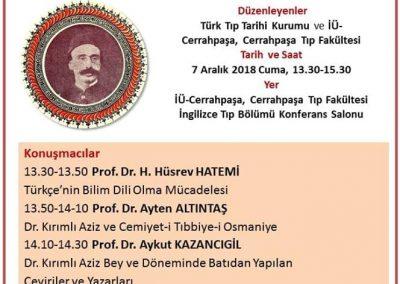 2018 Vefatının 140.Yılı Anısına- Dr. Kırımlı Aziz Bey ve Tıbbiyede Bilim Dilinin Türkçeleştirilme Mücadelesi Sempozyumu