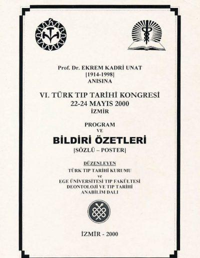 6. Türk Tıp Tarihi Kongresi (İzmir, 22-14 Mayıs 2000)