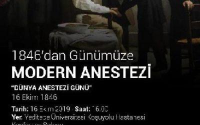 """""""Dünya Anestezi Günü""""  1846'dan Günümüze Modern Anestezi"""